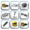 Vector Truck spares icons set Royalty Free Stock Photo