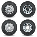 Vector truck tire icons on white background Stock Photos