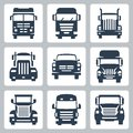 Vector trucks icons set front view Stock Image
