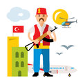 Vector Turkey Airport. Security Officer. Flat style colorful Cartoon illustration.