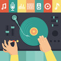 Vector turntable and dj hands music concept in flat retro style Stock Photography