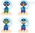 Vector Tweety summer holiday mascot Royalty Free Stock Photo