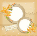 Vector with  two  circular  photo frames, lilies Royalty Free Stock Photos