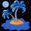 Vector Two palm trees on an island at midnight Stock Image