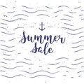 Vector typographic illustration of handwritten Sale retro label with light rays. Promotional lettering composition.