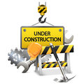 Vector under construction concept with frame on white background Royalty Free Stock Photo