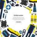 Vector underwater diving equipment illustration Royalty Free Stock Photo