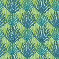 Vector underwater seaweed seamless pattern. Print with ocean tropical corals Royalty Free Stock Photo