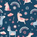 Vector unicorns and rainbows seamless repeat pattern background.
