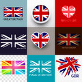 Vector union jack flag collection set of various british flags and uk symbols illustration Royalty Free Stock Photography