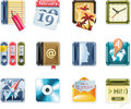Vector universal square icons. Part 1 (white) Royalty Free Stock Photo