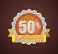 Vector up to 50% discount badge Royalty Free Stock Photo