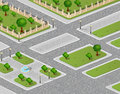 Vector of urban garden isometric projection the Stock Photos
