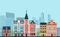 Vector Urban landscape illustration. Old buildings with modern  skyscrapers in the background. Royalty Free Stock Photo