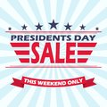 Vector USA Presidents day sale background with stars, stripes and ribbon.