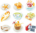 Vector vacation icon set Stock Photo