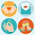 Vector valentine day illustrations in flat style hands and signs of love Royalty Free Stock Photo