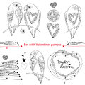 Vector Valentine day set in contour style. Outline couple of parrots in love, ornate hearts and frame isolated on white background