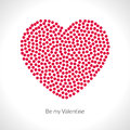 Vector Valentine heart shape filled with red circles. Holiday shape Royalty Free Stock Photo