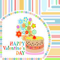 Vector valentine`s day frame with sweet cupcake Royalty Free Stock Photography