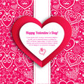 Vector valentine s day lacy paper heart greeting background Royalty Free Stock Images