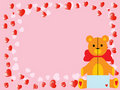 Vector valentine`s teddy bear on pink Royalty Free Stock Photos