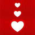 Vector valentines day card with three hearts and place for text Royalty Free Stock Photography