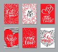Vector Valentines day cards templates. Hand drawn February 14 gift tags, labels or posters collection. Vintage love