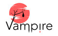 Vector vampire sign with bloody moon bat drops of blood and letters forming fangs shape Royalty Free Stock Images