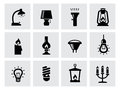 Vector various lighting icons of lamps on white this is file eps format Royalty Free Stock Photo