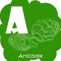 Vector vegetable alphabet for education. Illustration for kids. Letter A for Artichoke.