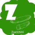 Vector vegetable alphabet for education. Illustration for kids. Letter Z for Zucchini