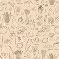Vector vegetables background. Seamless vegetables pattern.
