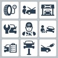 Vector vehicle service station icons set Royalty Free Stock Photography