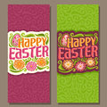 Rabbit Ears Bunny Painted Eggs Happy Easter Holiday Banner Colorful Greeting Card