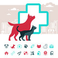 Vector veterinary emblem and pets icon set with dog cat Royalty Free Stock Photos