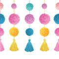 Vector Vibrant Colorful Birthday Party Pom Poms and Tassels Set On Strings Horizontal Seamless Repeat Border Pattern