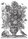 Vector Victorian flower bouquet in vase with birds