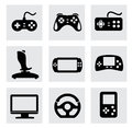 Vector video game and joystick icons set this is file of eps format Royalty Free Stock Photo