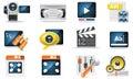 Vector video icon set Royalty Free Stock Photos