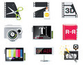 Vector video icons Stock Photography