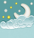Vector vintage background with the moon clouds and stars Royalty Free Stock Photo