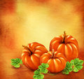 Vector Vintage background with three pumpkins Royalty Free Stock Photo