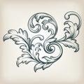 Vector vintage Baroque border scroll design