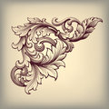 Vector vintage baroque frame corner ornate scroll design pattern element engraving retro style ornament Royalty Free Stock Image