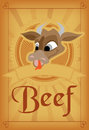 Vector vintage beef meat poster Royalty Free Stock Image