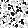 Vector vintage black and white roses and leaves seamless repeat pattern. Great for retro fabric, wallpaper, scrapbooking Royalty Free Stock Photo