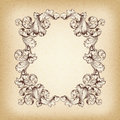 Vector vintage border frame engraving with retro ornament pattern in antique baroque style decorative design Stock Photos