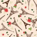 Vector Vintage Brown Eifel Tower Paris and Roses Flowers Seamless Repeat Pattern Surrounded By St Valentines Day Red