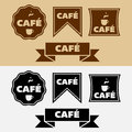 Vector vintage cafe badges retro and banners or logo for your coffee shops or bakery Stock Photography